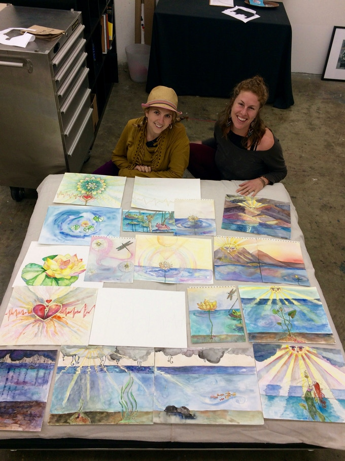 Jen Myzel and Hillary Mendoza have been working on the music and watercolor paintings for Yellow Lotus Flower since 2014.