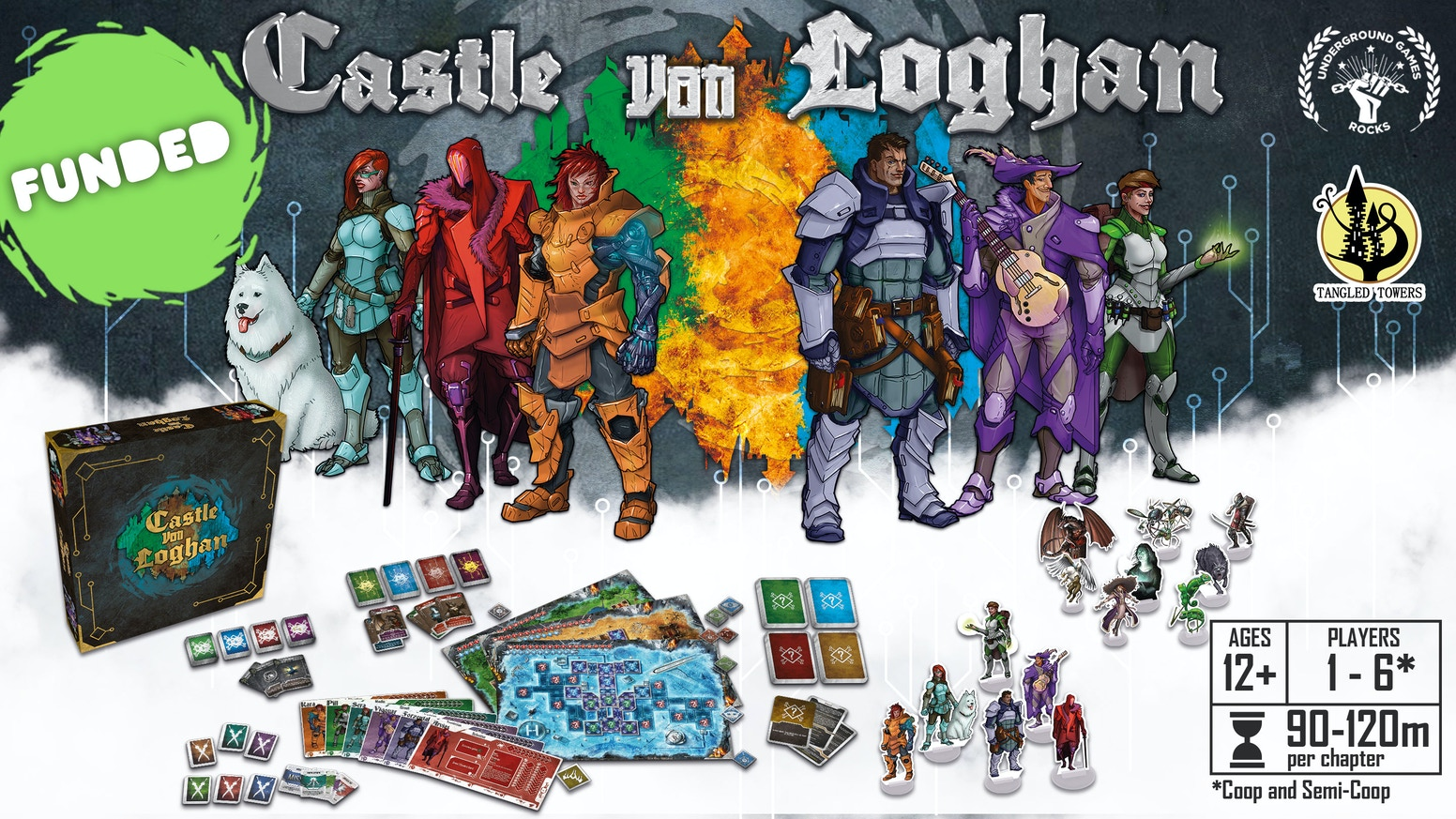 A 1 to 6 Players, time-travelling, competitive Co-op dungeon adventure with engaging stories, diceless combat and morphing game boards. Get it now!