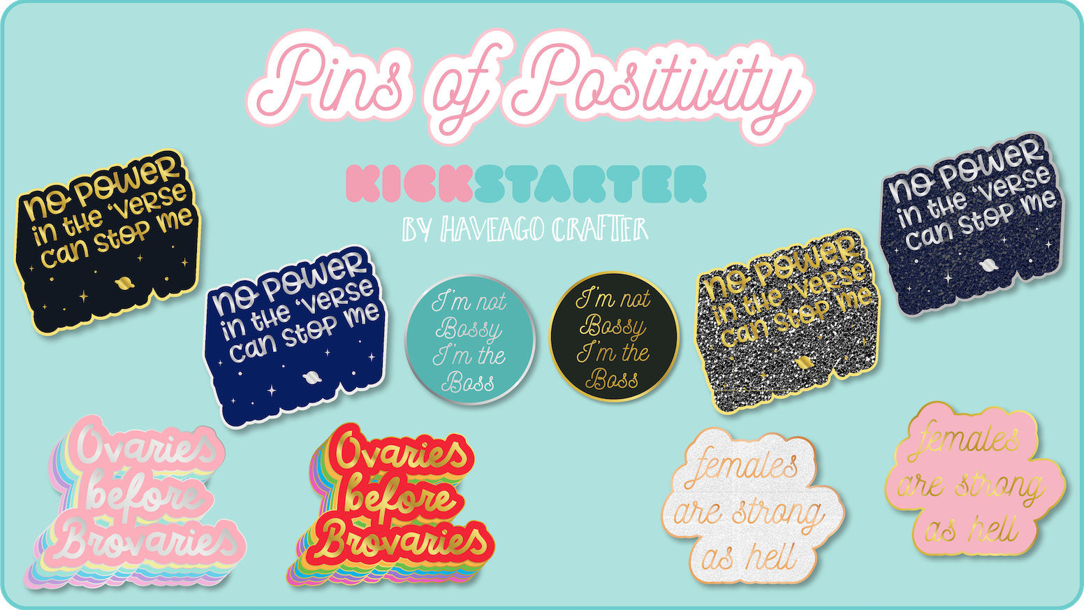 Pins of Positivity - positive quote hard enamel lapel pins by Helen