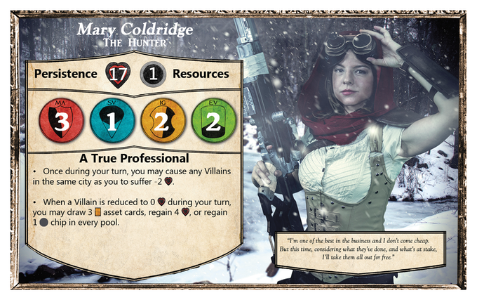 Everything you need to play is listed on the front of a Character Card (Mary Coldridge - Hero)