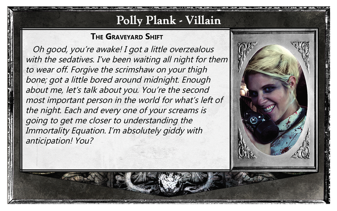 Back sides offer a small glimpse into that character's backstory (Polly Plank - Villain)