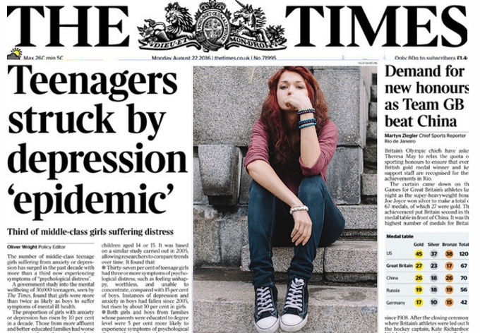 Teenage mental health is front page news