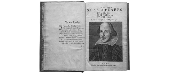 The title page of the First Folio