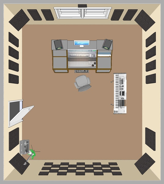 Audio Control & Mixing Room With Acoustic Treatment