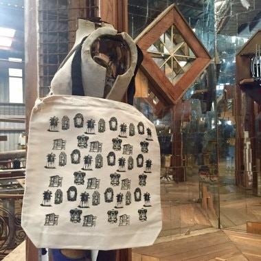Music Box Village illustrated tote bag