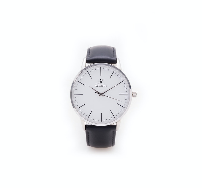 40mm, White Face, Silver / Black Leather