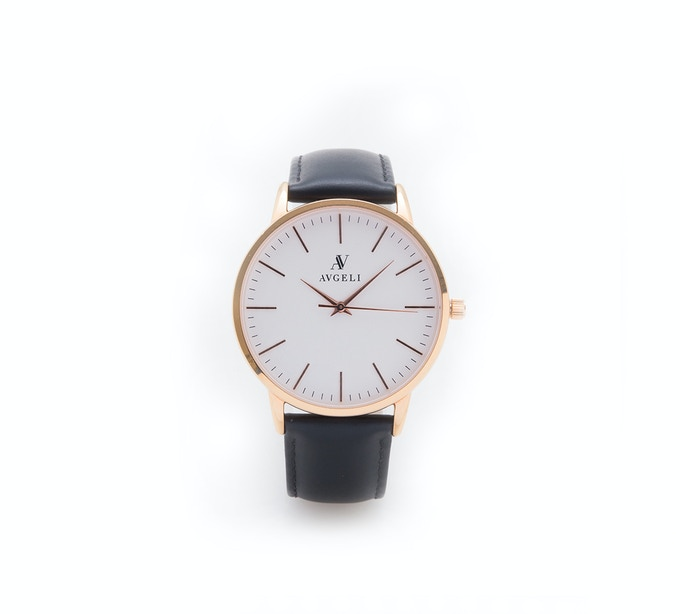 40mm, White Face, Rose Gold + Black Leather