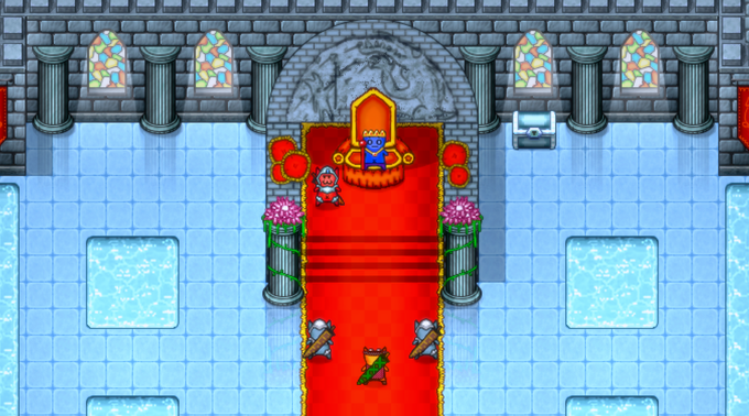 Ourhero at the Throne Room, in the presence of the King.