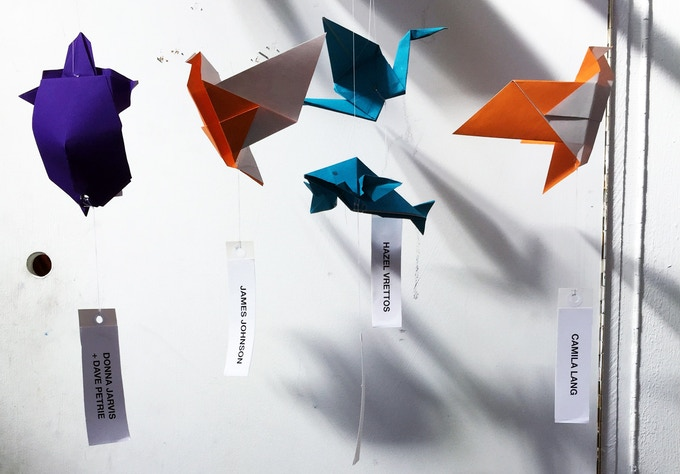 Origami animals with name tags