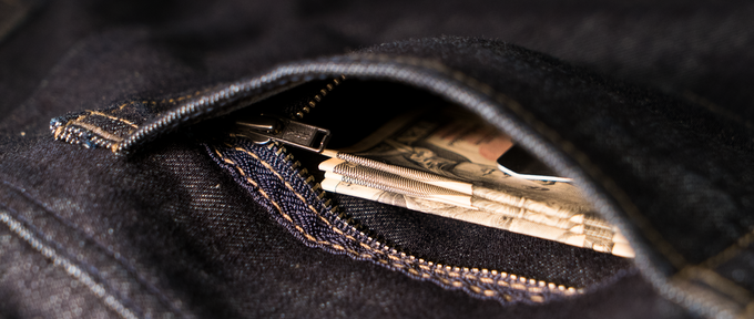 The hidden security pocket in the left back is best for money-clipped cash, keeping it safe from being pickpocketed.