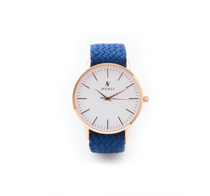 40mm, White Face, Rose Gold / Midnight Blue Perlon Band