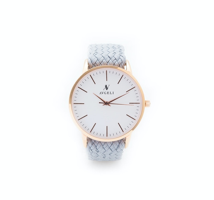 40mm, White Face, Rose Gold / Wolf Grey Perlon Band