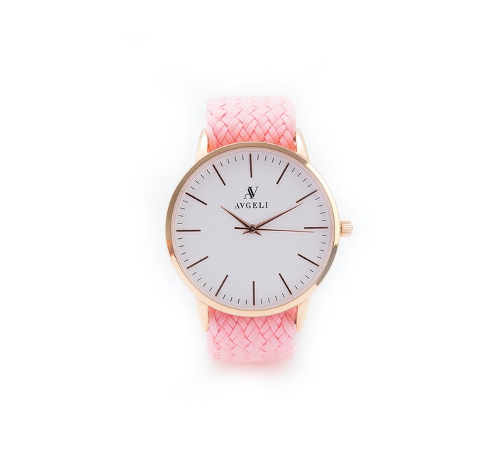 40mm, White Face, Rose Gold / Pink Perlon Band