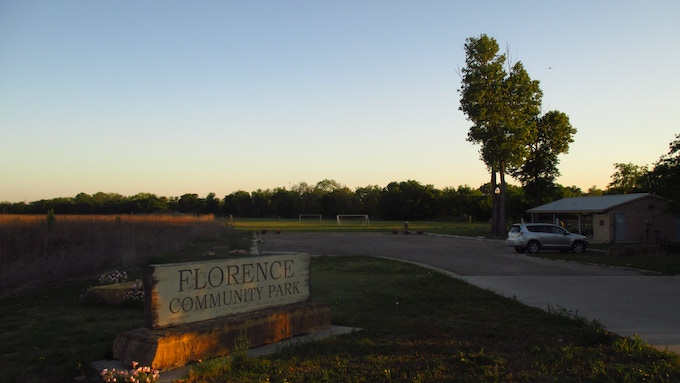 The community park in Florence, Texas, peacefully awaits