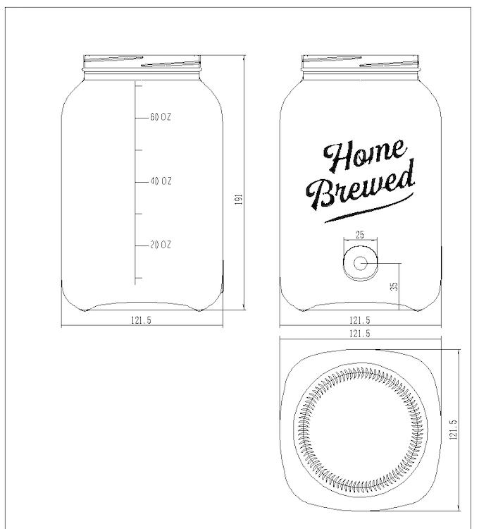CAD 2D of updated custom dispenser