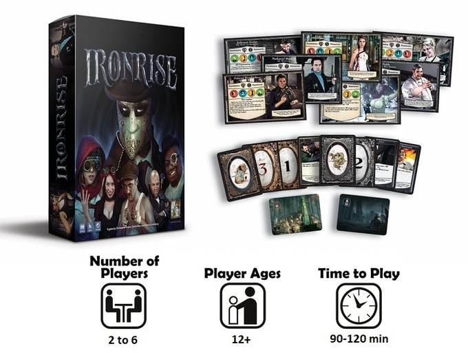 Ironrise is a co-operative team v. team adventure style board game that involves narrative progression through head-to-head challenges with hidden card play and the wagering of assets.