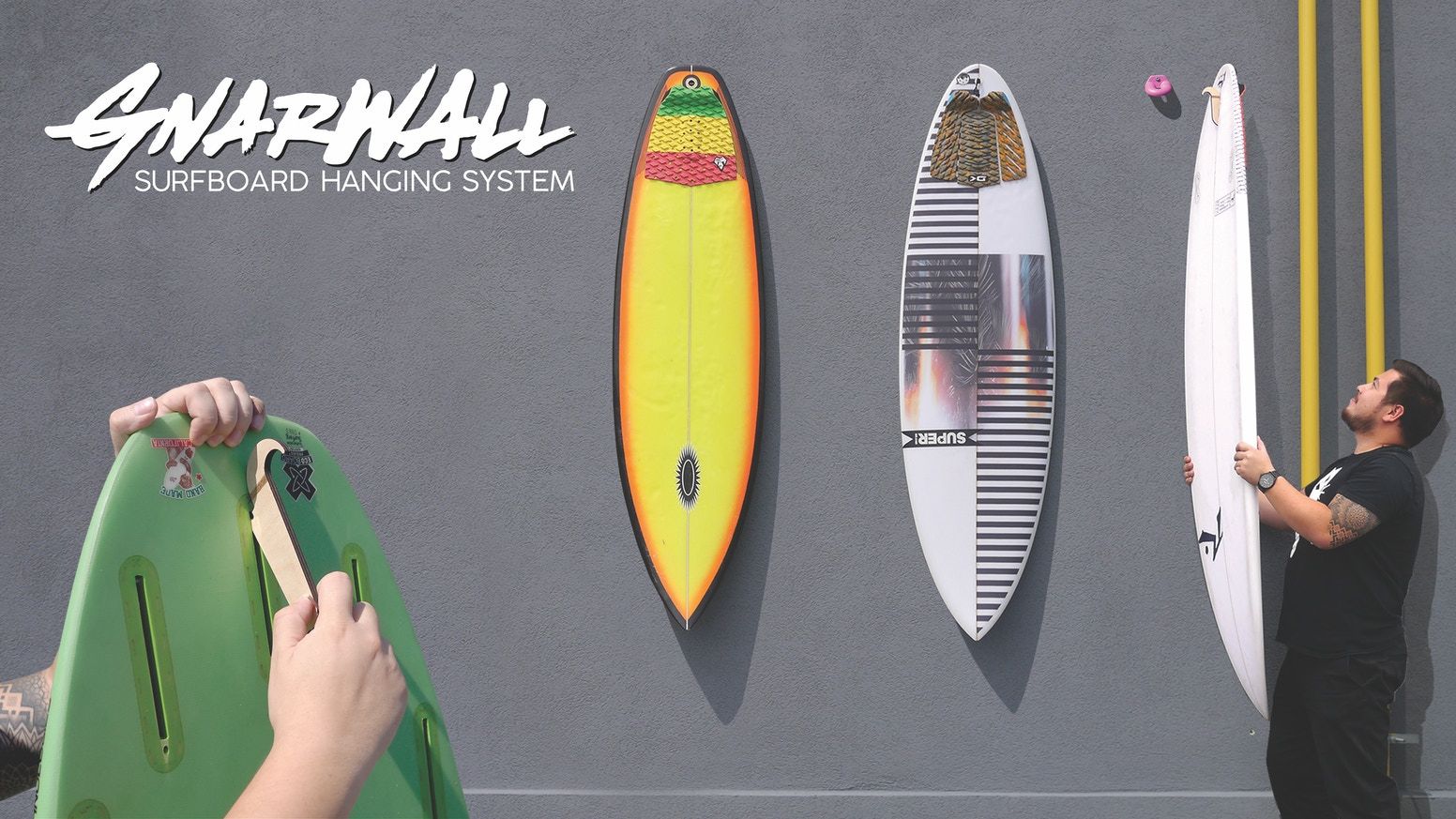 A sustainable surfboard wall hanging system that makes it easy to store and display your gnarly boards. Use discount code KICKSTART at the link below to save 15% on your whole order!!!