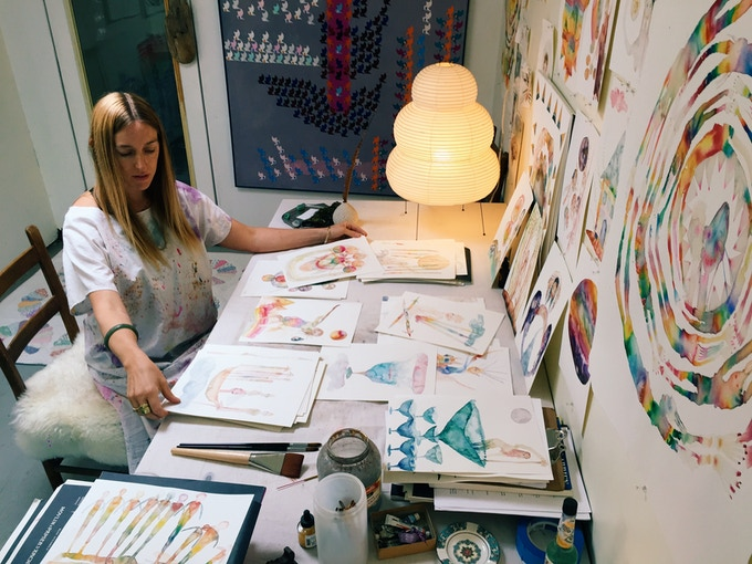 Laura in her Oaklnd Art Studio