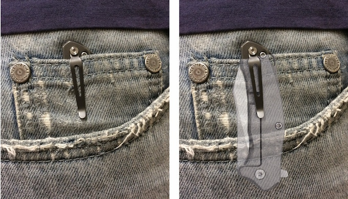 Like an iceberg, only 10% of the length of the body sticks above the edge of the pocket when clipped on.