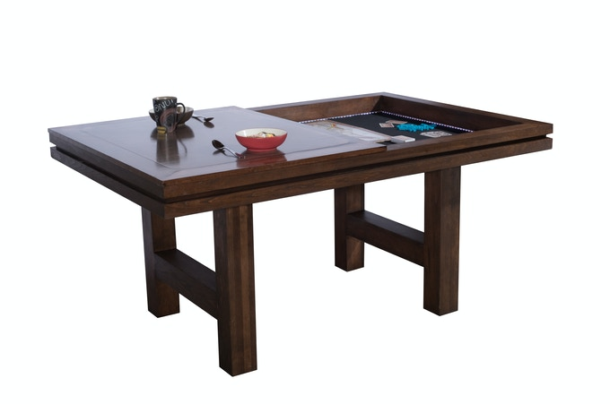 Table quickly and easily converts from dining room to gaming.