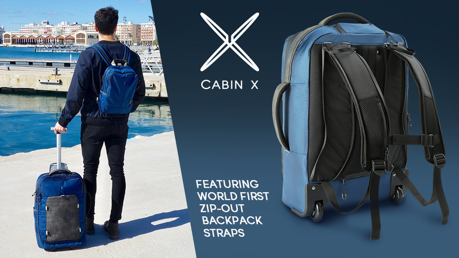A Hybrid Carry-On case with unique Patent-pending zip-out backpack straps to let you switch easily between Trolley & Backpack modes.