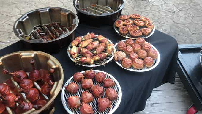 3 Pans Produced - Lollipop Chicken Drums, Moink Balls, Bacon Wrapped Jalapeños, Pig Shots,  & Twice Baked Potato Skins