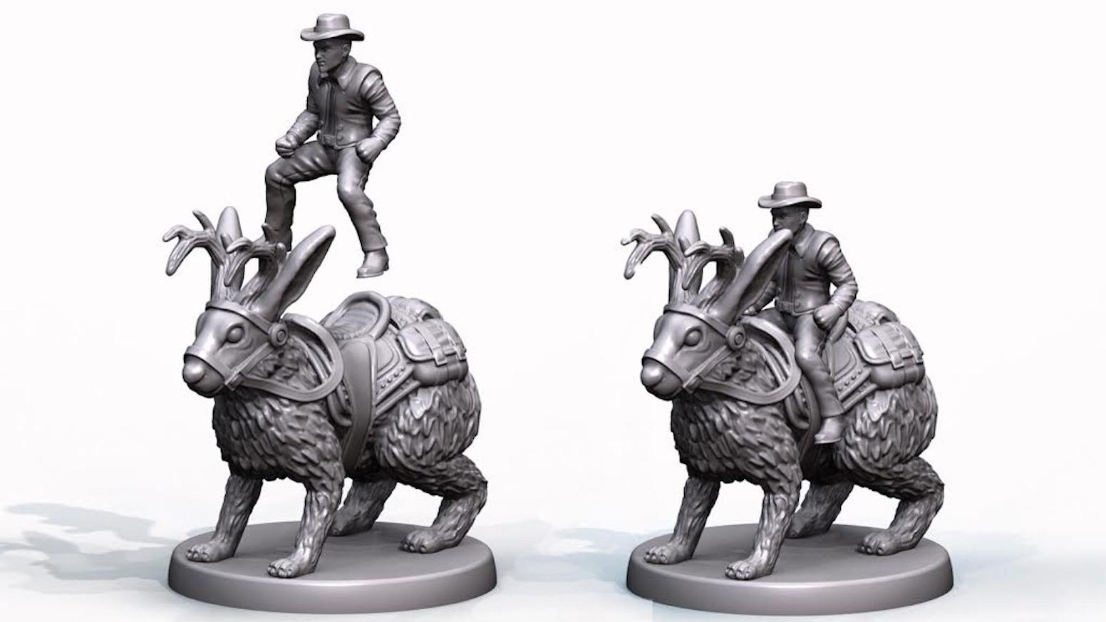 Cowboy Riding a Jackalope PVC Tabletop Gaming Miniature by