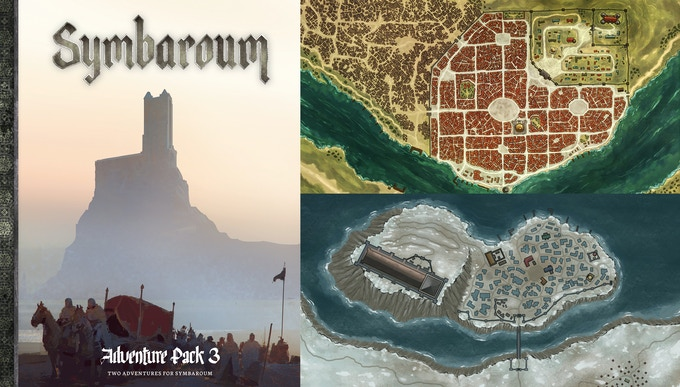 The (work-in-progress) cover and the maps of AP3's main settings, Ravenia and Prios' Pass