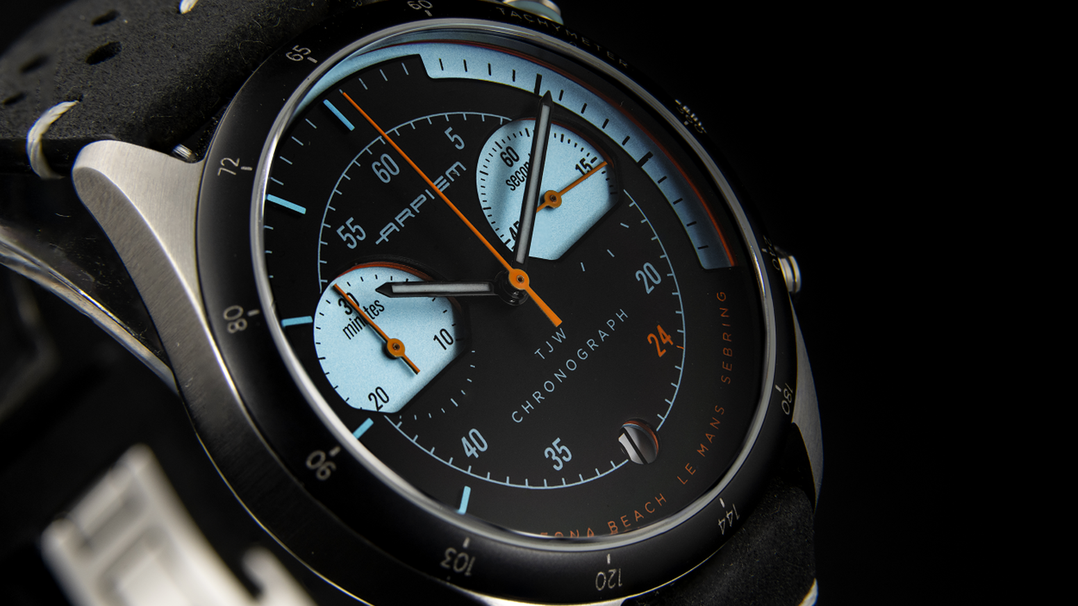 A Collection of 4 chrono watches inspired by the golden years of motor racing. A true racing watch that tells a story.