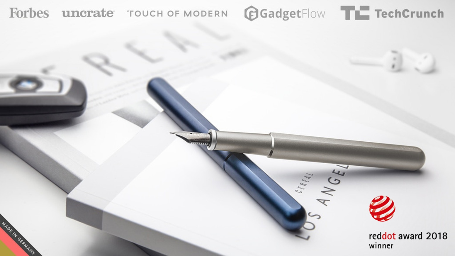 A minimalist fountain pen with a magnetic self-aligning cap made from titanium or aluminium.