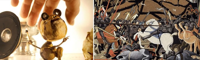 "L: ""Stems"" by Ainslie Henderson 2015 (Scotland) Stop Motion; R: ""The Battle of San Romano"" by Georges Schwizgebel 2017 (Switzerland) Paint."