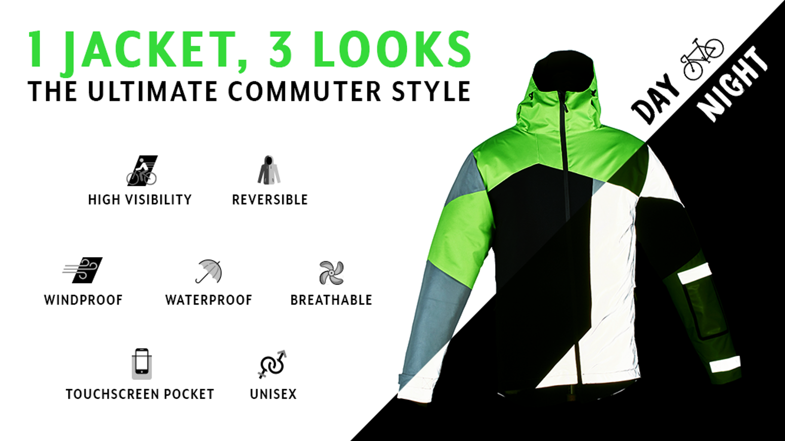 The High Visibility Cycling Jacket for Urban Bikers. You missed our  Kickstarter  It is not too late fd161c374
