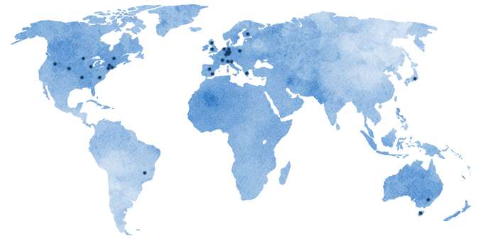World map with the location of all reviewers