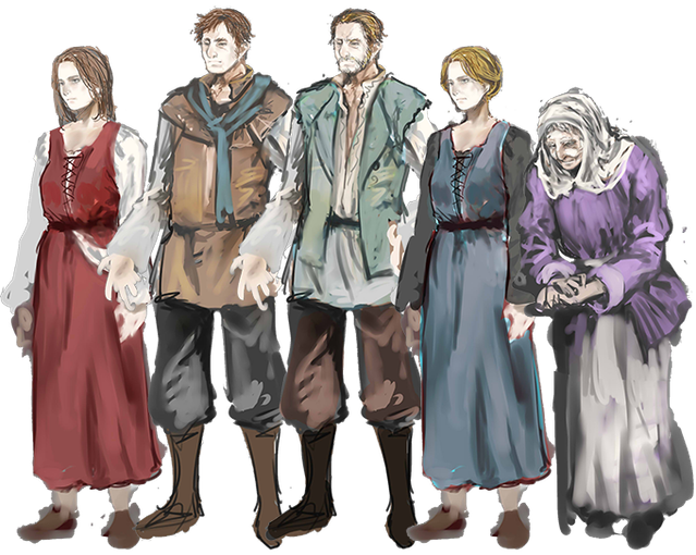Some villagers: Lindsay, Benjamin, Harry, Abigail, and Suzy