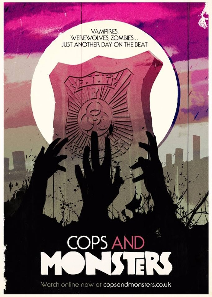 Our official Cops and Monsters poster by Doctor Who designer Stuart Manning