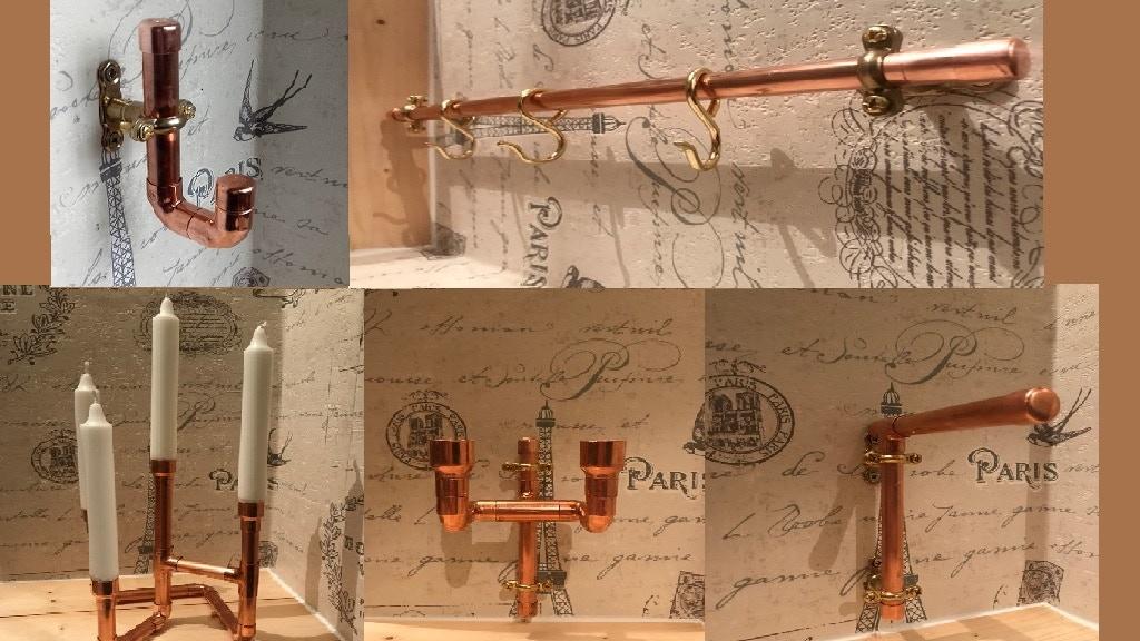 Copper Pipe Accessories, Steampunk, Industrial, Rose Gold