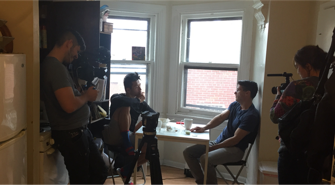 Set photo - Kevin having a conversation with his friend Jimmy