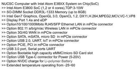 NUCSC Compute Module Tech Specs