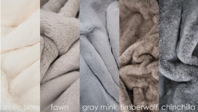 arctic hare, fawn, gray mink (solid colors), timberwolf (multi-color), chinchilla (multi-color)
