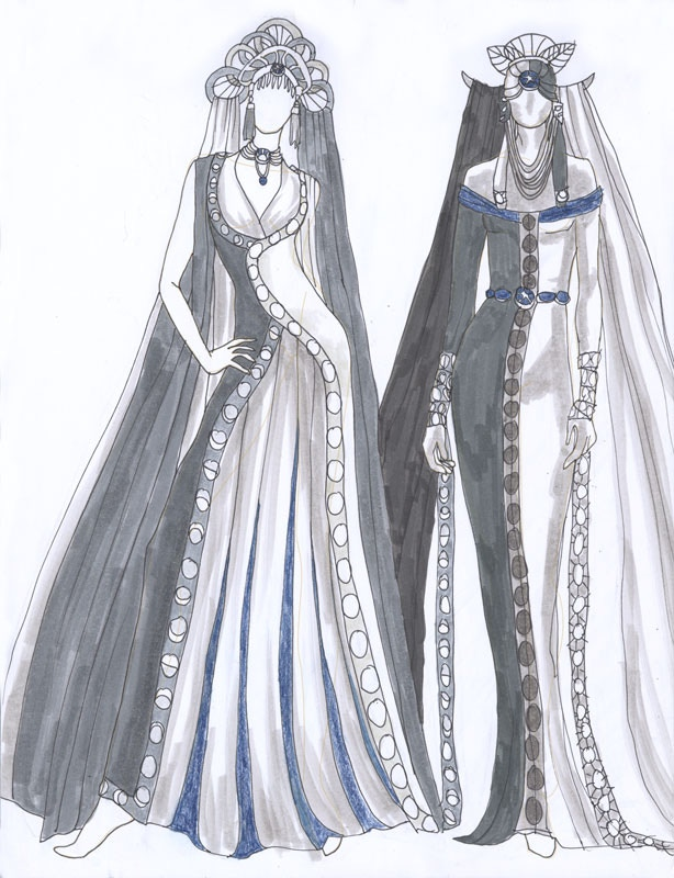 Lady of September's fashion sketches.