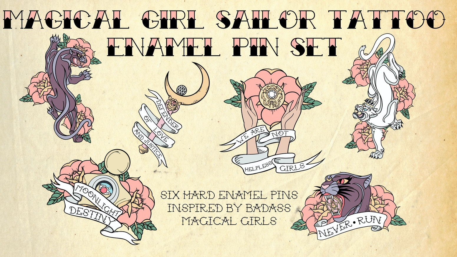 magical girl sailor tattoo enamel pin set by stray dog strut pins
