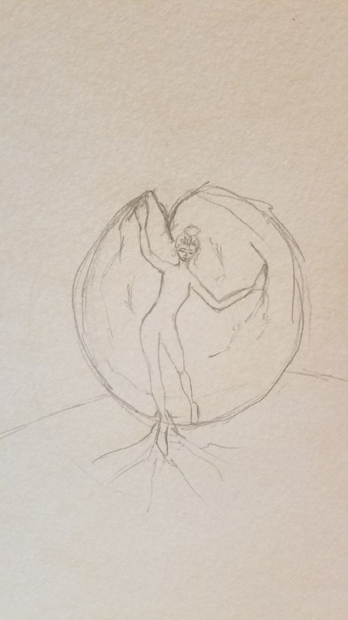 A sketch of Lotus Girl inside the seed