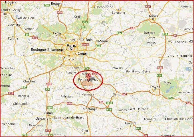 Fontainebleau is 55 km southeast of Paris.