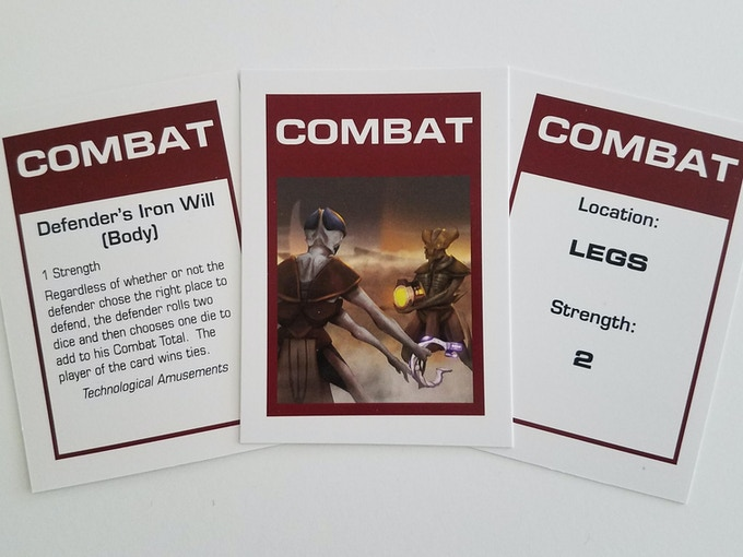 98 Combat Cards that are used by both attackers and defenders during combat and can enhance the capabilities of either.