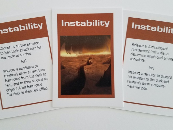 8 cards that have the ability to change, alter, or inhibit the actions of the other senators.