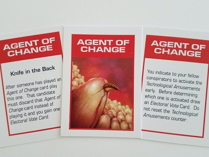38 Agent of Change cards that allow you to change or prevent the actions of another candidate.