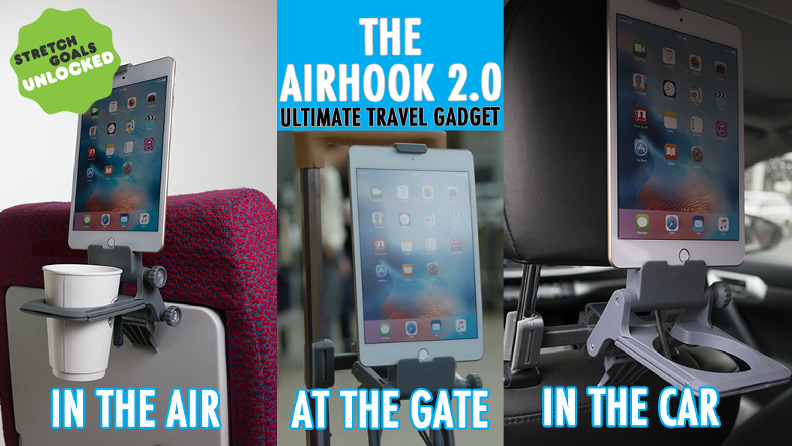 Support your tablet or cell phone + a can/cup/bottle HANDS-FREE on your inflight tray table, vehicle headrest, and luggage handlebars!