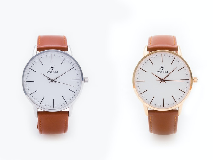 40mm, White Face, Silver + Rose Gold / Camel Leather