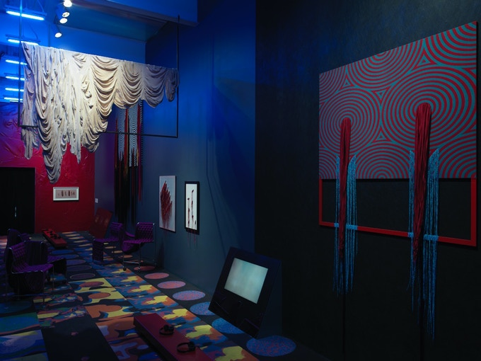 """Image of Liz Collins' """"Cave of Secrets"""" installation in the """"Trigger: Gender as a Tool and as a Weapon"""" show at the New Museum in New York City (Sept 27, 2017-Jan 21, 2018)"""