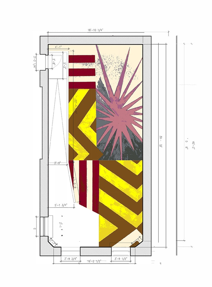 """Layout of carpet in BGSQD space. This carpet is a reconfiguration of the custom carpet Collins created for her """"Energy Field"""" installation at the Tang Museum (2015-2017) and is based on one of her drawings."""